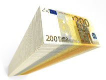 Stack of banknotes. Two hundred euros. 3D illustration Stock Images