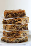 Stack of Bar Cookies. Stack of chocolate chip bar cookies Stock Image