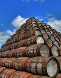 Stack of barrels Stock Images