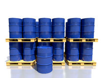 Stack barrels of fuel on a pallet are in the industrial warehous Royalty Free Stock Photo