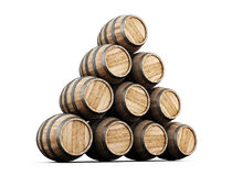Stack of barrels  on white background. Royalty Free Stock Photos