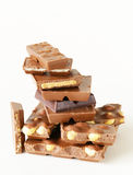 Stack of bars pieces of chocolate Royalty Free Stock Photos