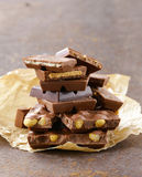 Stack of bars pieces of chocolate Stock Image