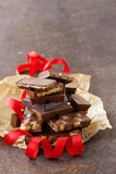 Stack of bars pieces of chocolate Royalty Free Stock Images