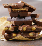 Stack of bars pieces of chocolate Royalty Free Stock Photography