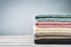 Stack of bath towels Stock Photo