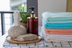 Stack of bath towels. With toothbrushes on table Royalty Free Stock Photos