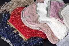 Stack of beaded evening bag Stock Photo