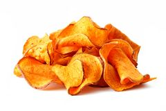 Stack of beet potato chips isolated on white Royalty Free Stock Photos