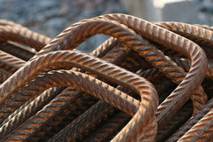 Stack of bent rusty rebars Stock Images