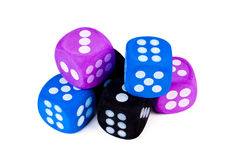 Stack of big dice on white. Royalty Free Stock Image