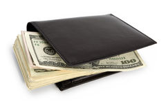 Stack of bill in wallet. Stack of dollar banknotes in black wallet isolated on white. Clipping path incl Stock Photo