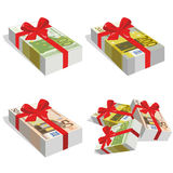 Stack of bills 50, 100 y 200 euro with ribbon. Wad of hundred euros wrapped in a red ribbon Vector Illustration