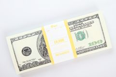 Stack of $100 bills. Close-up of dollar cash pile of money Stock Photography