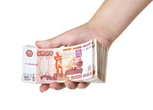 Stack of bills in the female hand. Royalty Free Stock Image