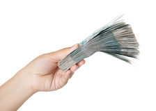 Stack of bills in the female hand. Royalty Free Stock Photo