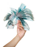Stack of bills in the female hand. Stack of one thousandth bills in the female hand Royalty Free Stock Photos