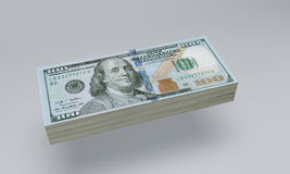 Stack of $100 bills. Stack of hundred Dollars Stock Photos