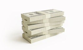 Stack of $100 bills. Isolated on white background Royalty Free Stock Photos