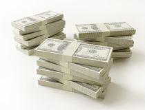 Stack of $100 bills. On white background Stock Image