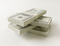 Stack of $100 bills. On white background Stock Photography