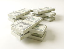 Stack of $100 bills. On white background Stock Images