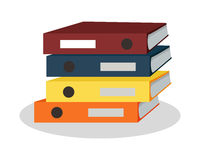 Stack of Binders with Papers Vector Illustration Stock Photo