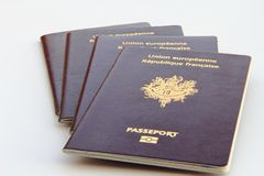 Stack of biometric passports Royalty Free Stock Photo