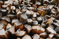 A stack of birch firewood - a natural background Royalty Free Stock Photography