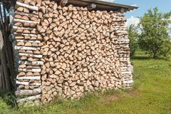 Stack of birch firewood at an outdoor site Stock Photo
