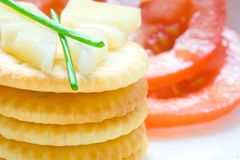 Stack of biscuit with cheese and chives Royalty Free Stock Image