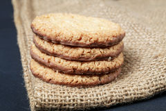 Stack biscuit cookies on table Stock Photo
