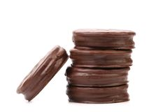 Stack biscuit sandwich with chocolate. Royalty Free Stock Images