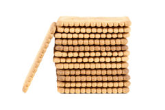 Stack of biscuits on white background Stock Photos
