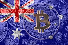 Stack of Bitcoin Australia flag. Bitcoin cryptocurrencies concept. BTC background. royalty free stock photos