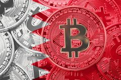 Stack of Bitcoin Bahrain flag. Bitcoin cryptocurrencies concept. royalty free stock image