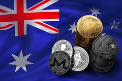 Stack of Bitcoin coins on Australian flag. Situation of Bitcoin and other cryptocurrencies in Australia. Concept. 3D Rendering Royalty Free Stock Images