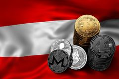 Stack of Bitcoin coins on Austrian flag. Situation of Bitcoin and other cryptocurrencies in Austria. Concept. 3D Rendering Stock Photo
