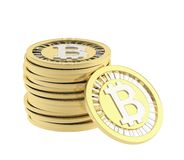 Stack of bitcoin currency coins Stock Images