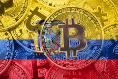 Stack of Bitcoin Ecuador flag. Bitcoin cryptocurrencies concept. BTC background royalty free stock photos