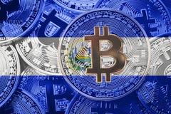 Stack of Bitcoin El Salvador flag. Bitcoin cryptocurrencies concept. BTC background. stock photos