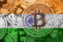 Stack of Bitcoin India flag. Bitcoin cryptocurrencies concept. B royalty free stock photos