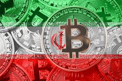Stack of Bitcoin Iran flag. Bitcoin cryptocurrencies concept. BT. C background royalty free stock photography