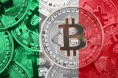 Stack of Bitcoin Italy flag. Bitcoin cryptocurrencies concept. B stock images