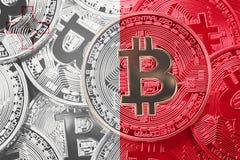 Stack of Bitcoin Malta flag. Bitcoin cryptocurrencies concept. B royalty free stock image