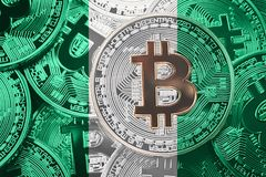 Stack of Bitcoin Nigeria flag. Bitcoin cryptocurrencies concept. stock photo