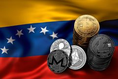 Stack of Bitcoin and other crypto coins on Venezuelian flag. Stack of Bitcoin coins on Venezuelian flag. Situation of Bitcoin and other cryptocurrencies in Royalty Free Stock Image