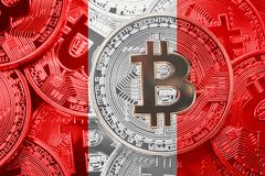 Stack of Bitcoin Peru flag. Bitcoin cryptocurrencies concept. BT. C background stock images