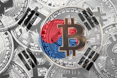 Stack of Bitcoin South Korea flag. Bitcoin cryptocurrencies concept. BTC background. stock photography