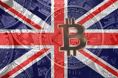 Stack of Bitcoin United Kingdom flag. Bitcoin cryptocurrencies c stock images